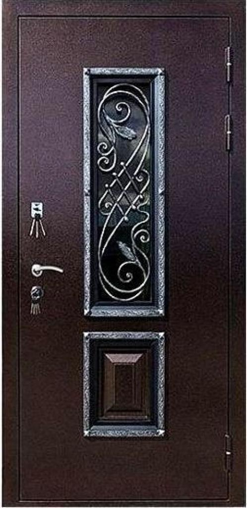 Входная дверь со стеклом Гранит Коттедж наружная отделка