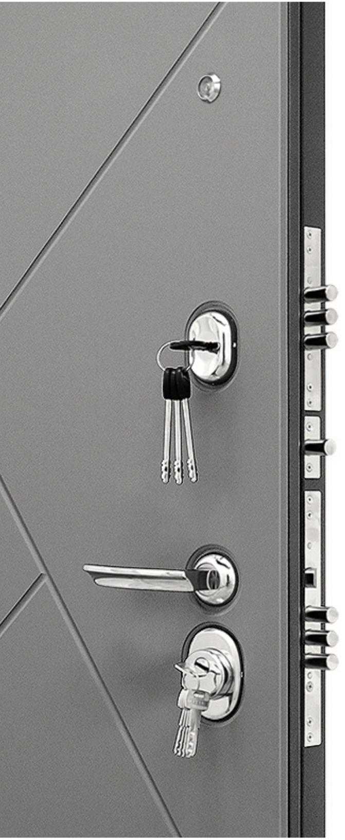 Замки и ручка на входной двери Гранит С3 Ультра