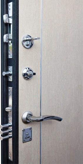 Замки и ночная задвижка на входной двери Футура 003