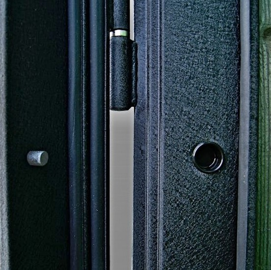 Петли и противосъемные штыри на входной двери Гарда С2