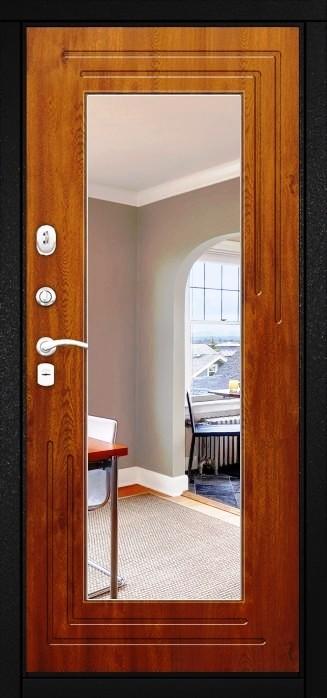 Входная дверь Гарда ZX внутренняя сторона с зеркалом в цвете Орех вертикальный
