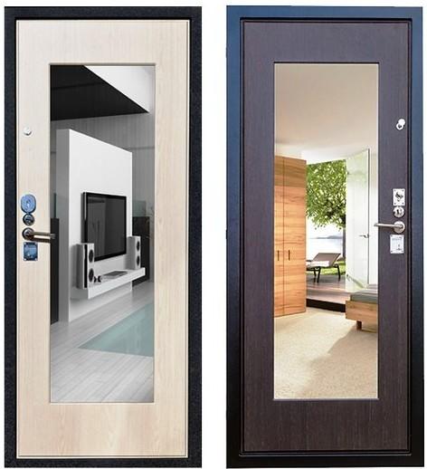 Входная дверь Гарда С5 с зеркалом на фоне венге и беленого дуба